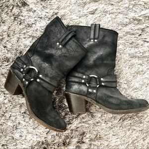 Distressed Frye Carmen Harness Pull On Moto